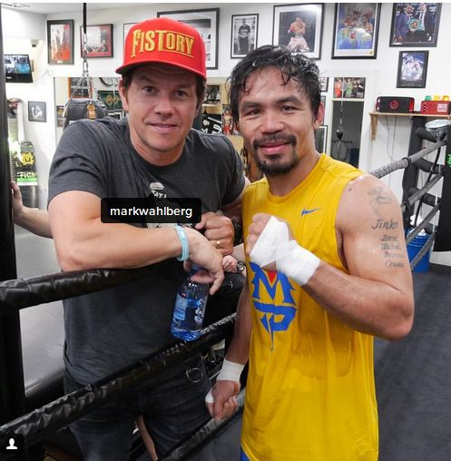 mannypacquiao @ Instagram: Thank you Mark Wahlberg for coming to visit me and supporting me at training in preparation for May 2nd.
