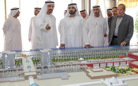Sheikh Mohammed bin Rashid Al Maktoum inspected Nakheel's new Dh14 billlion projects in Dubai on Tuesday. (Wam)