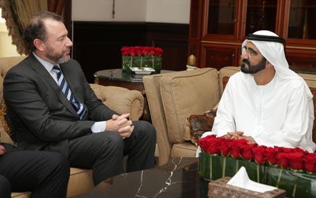 Sheikh Mohammed bin Rashid Al Maktoum received Dan Amman, President of General Motors, in Dubai on Tuesday. (Wam)