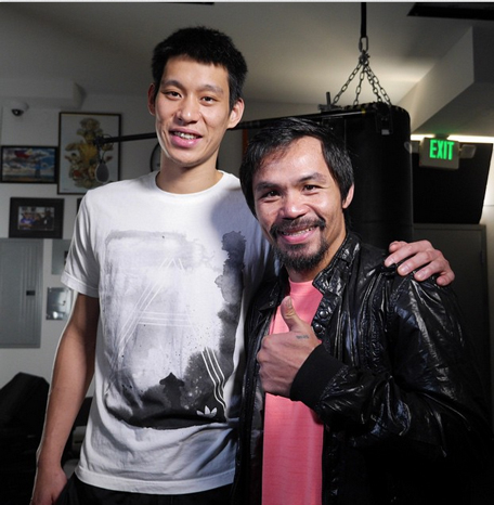 mannypacquiao @ Instagram: Thank you Jeremy Lin for coming to show your support. Thank for showing your love for the Lord and being a good example. God Bless!