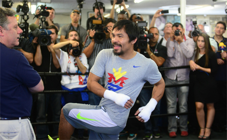 Manny Pacquiao trains for his upcoming fight at the Wild Card Boxing Club in Hollywood, California on April 15, 2015. (AFP)