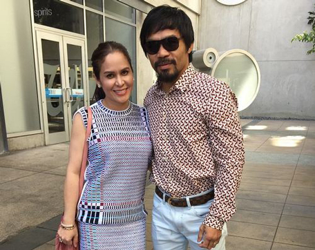 mannypacquiao @ Instagram: Thank you Lord for giving us this day with my beautiful wife @jinkeepacquiao and family. ❤️