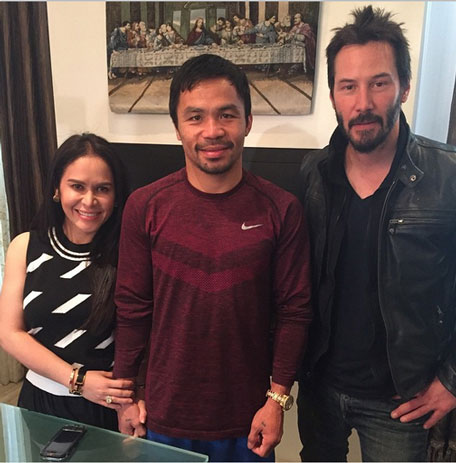 mannypacquiao @ Instagram: Thank you Keanu Reeves for visiting me and my wife @jinkeepacquiao God Bless you always.