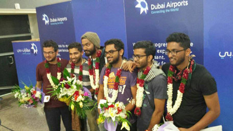 The boys land in Dubai. (Facebook)