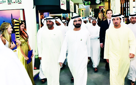 Sheikh Mohammed stopped at several national pavilions and stands, where he was briefed on the new developments and plans for tourism which has become a key source of income for many countries, including the UAE. (Wam)