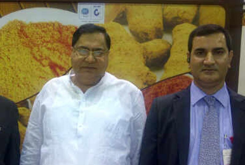 Harish Kumar Lal Tahiliani (right) and his father Kumar Lal Megharaj Tahiliani of Arab India Spices based in Ajman in the UAE.(Supplied)