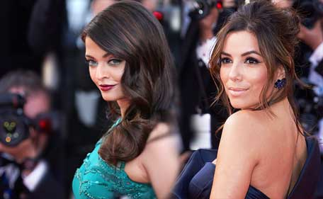 Actresses Eva Longoria and Aishwarya Rai (L) pose at the Premiere of 'Carol' during the 68th annual Cannes Film Festival on May 17, 2015 in Cannes, France. (Getty images)
