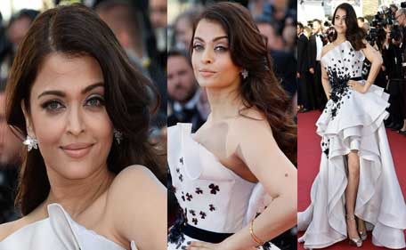 Indian actress Aishwarya Rai Bachchan poses as she arrives for the screening of the film 'Youth' at the 68th Cannes Film Festival in Cannes, southeastern France, on May 20, 2015. (AFP)