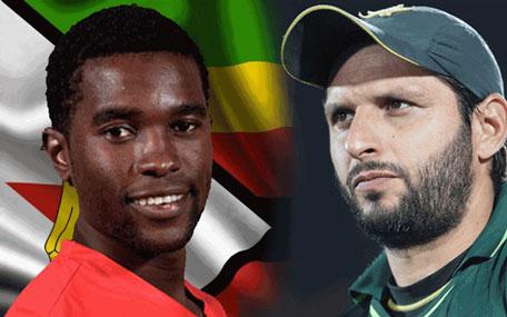 Zimbabwe skipper Elton Chigumbura (left) and Pakistan T20 captain Shahid Afridi. (Agencies)