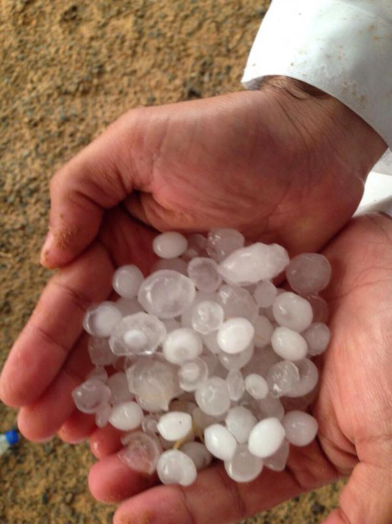 Hailstones that fell in some parts of the UAE over the weekend. (Supplied)