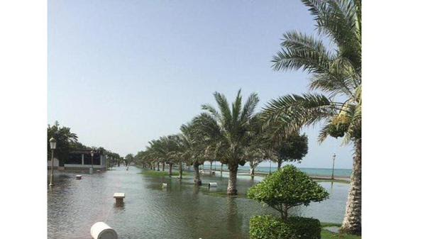 Waterlogging in Fujairah, which authorities are attributing to Ashobaa. (Image tweeted by Fujairah Marina Club)