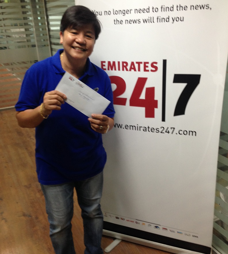 The latest winner of Dh1,000 with Emirates 24|7 (Staff)