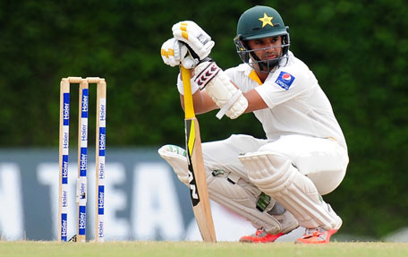 Pakistan batsman Azhar Ali continues to defy Sri Lanka on day four of the 2nd Test at P Sara Oval in Colombo on June 28, 2015. (AFP)