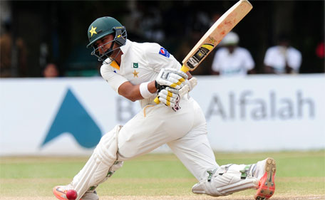 Pakistan cricketer Azhar Ali plays a shot during the fourth day of the second Test match between Sri Lanka and Pakistan at the P. Sara Oval Cricket Stadium in Colombo on June 28, 2015. (AFP)