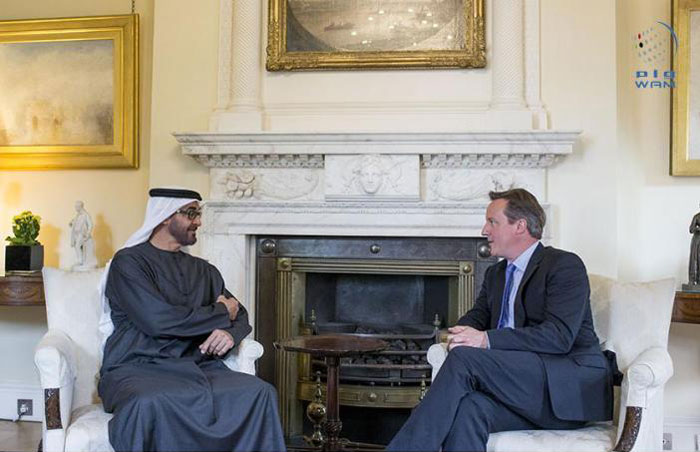 General Mohamed and David Cameron on Thursday discussed bilateral relations (Wam)