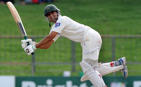 Pakistan batsman Younis Khan plays a shot on the leg side against Sri Lanka on the fourth day of the 3rd Test in Pallekele on July 6, 2015. (AFP)