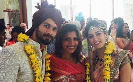 Actor Shahid Kapoor, 34, married fiancee Mira Rajput, 21, in an intimate ceremony in Delhi on July 7, 2015 (Twitter/Ayush)