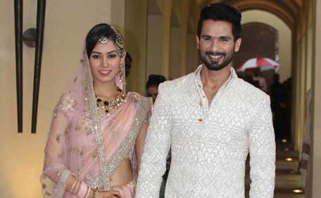 Actor Shahid Kapoor, 34, married fiancee Mira Rajput, 21, in an intimate ceremony in Delhi on July 7, 2015. (Supplied)