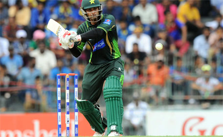 Pakistan batsman Mohammad Hafeez plays a shot during the third one day international  between Sri Lanka and Pakistan at the R. Premadasa International Cricket Stadium in Colombo on July 19, 2015. (AFP)