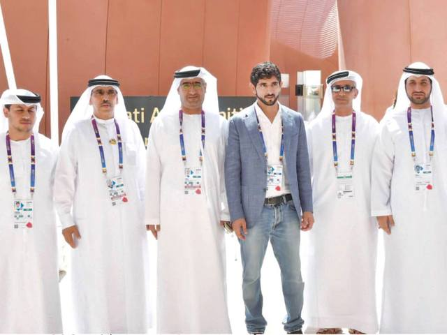 Sheikh Hamdan wished officials and volunteers at the pavilion success as they carry the message of the UAE to the world. (Al Bayan)