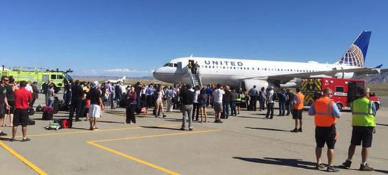 All of the passengers were able to walk off the plane, and one person was taken to the hospital for evaluation. (AP)
