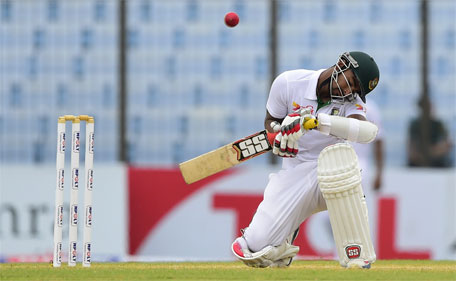 Bangladesh cricketer Litton Das avoid a bouncer from South Africa cricketer Morne Morkel during the third day of the first cricket Test match between Bangladesh and South Africa at the Zahur Ahmed Chowdhury Stadium in Chittagong on July 23, 2015. (AFP)
