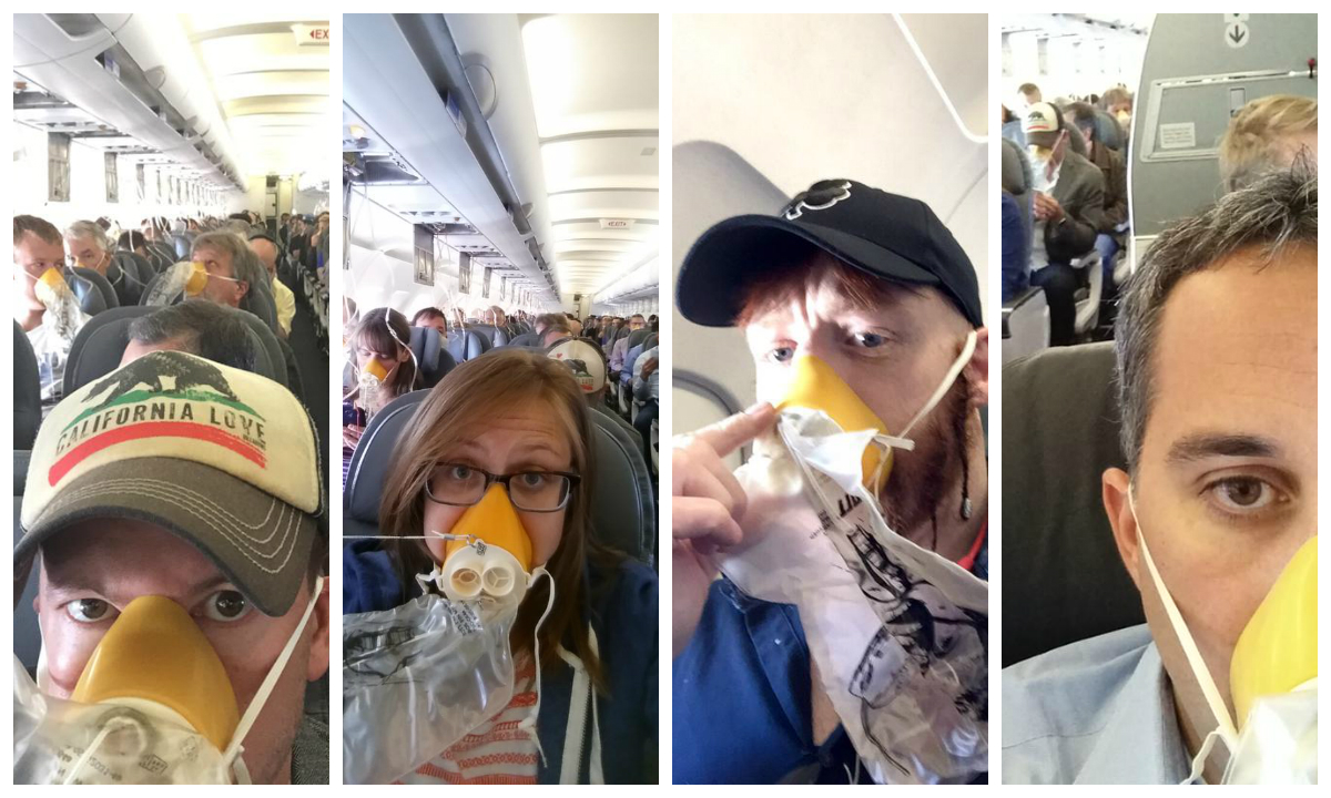 United passengers posted photos of themselves wearing oxygen masks. (Twitter)