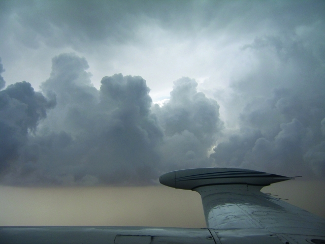 An aircraft on a cloud-seeding mission. (Al Bayan)