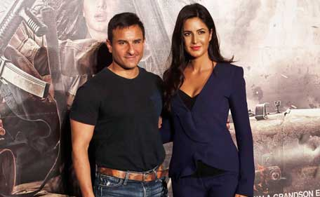 Indian Bollywood actress Katrina Kaif, left, and actor Saif Ali Khan pose for photographs during the trailer launch of his upcoming movie 'Phantom' in Mumbai, India, Saturday, July 25, 2015. The upcoming Indian political thriller film is scheduled for release on Aug. 28. (AP)