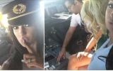 Photo: Pilot invites adult star into cockpit; lets her play with aircraft controls