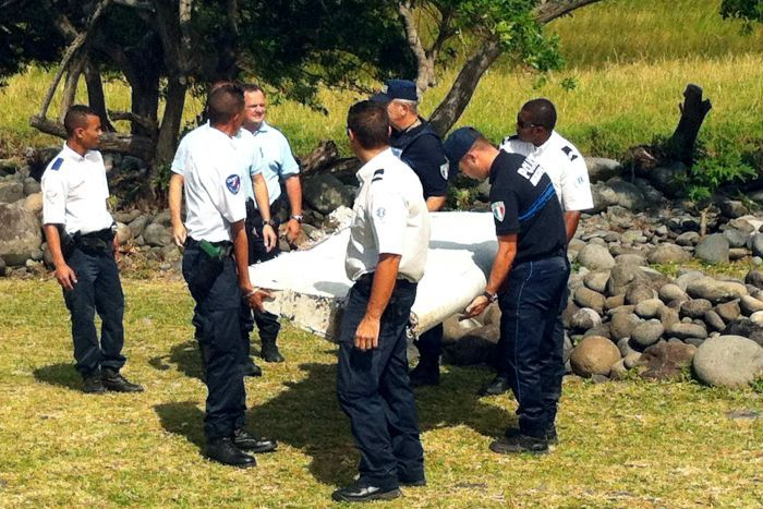 The debris from an aircraft found on the French Indian Ocean island of La Reunion. (AFP)