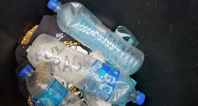 La Reunion lawyer Creissen Philippe recovered these three water bottles and a plastic tube near his home on the island. (Twitter)