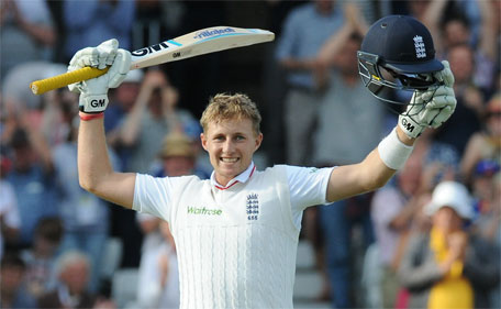 England's Joe Root celebrates after reaching a century during day one of the fourth Ashes Test cricket match, at Trent Bridge, Nottingham, England, Thursday, Aug. 6, 2015. (AP)