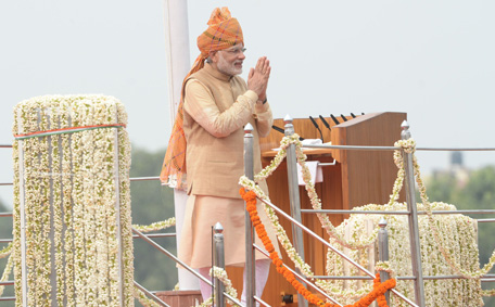 "Indian Prime Minister Narendra Modi gestures after delivering his Independence Day speech from The Red Fort in New Delhi on August 15, 2015.  Prime Minister Narendra Modi warned that corruption was eating away at India ""like a termite"" as he used an independence day speech to pledge his commitment to eradicating graft and poverty. In an address from the ramparts of Delhi's Red Fort, Modi sought to silence growing doubts about his leadership after key reforms stalled in a rancorous parliament session dogged by allegations of corruption involving some of his top lieutenants.  (AFP)"
