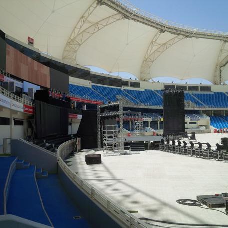 Preparations underway at Dubai Cricket Stadium for Narendra Modi's public address tomorrow. (Bindu Rai)