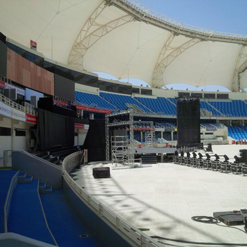 Preparations are under way at Dubai Cricket Stadium for Indian Prime Minister Narendra Modi's public address today. (Bindu Rai)