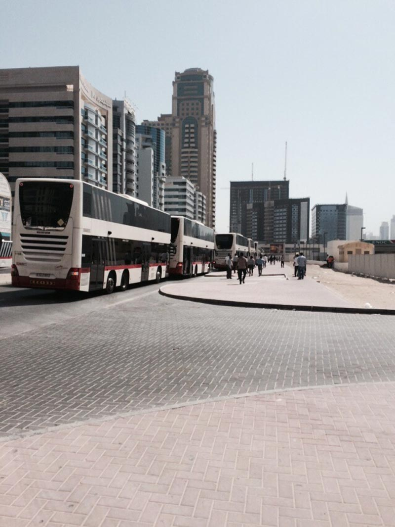 Shuttle buses for the Narendra Modi event in Dubai today. (Picture by Bindu Rai)