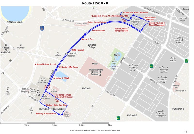 Map of Dubai bus Route F24. (Supplied)