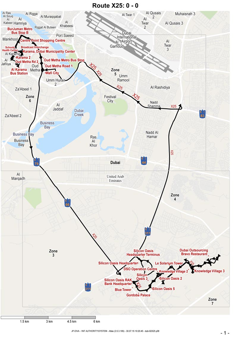 Map of Dubai Bus Route No.X25. (Supplied)