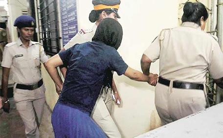 Indrani Mukherjea in police custody. (Sanskriti)