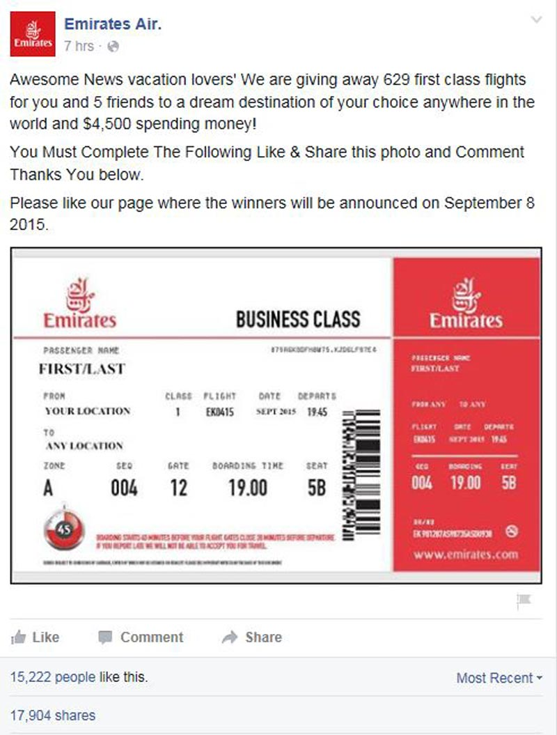 Facebook Competition For Free First Class Tickets Is A Hoax Emirates