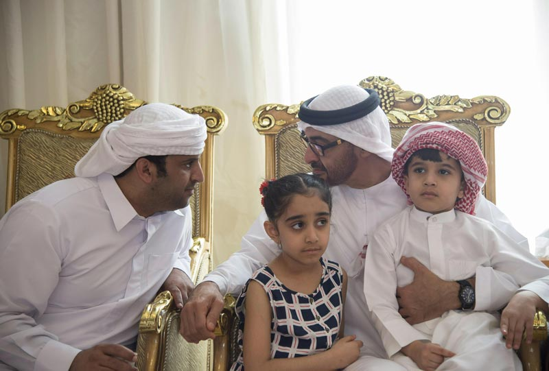 Sheikh Mohamed bin Zayed Al Nahyan offers condolences to the family of martyr Yusuf Al Ali who died while serving in Operation Restoring Hope in Yemen. (Wam)