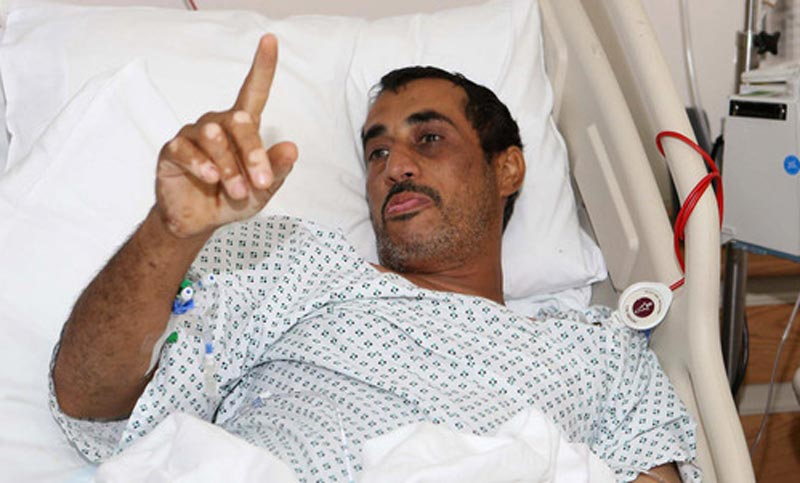 One of the UAE's injured soldiers in a hospital in Abu Dhabi. (Picture courtesy Emarat Al Youm)