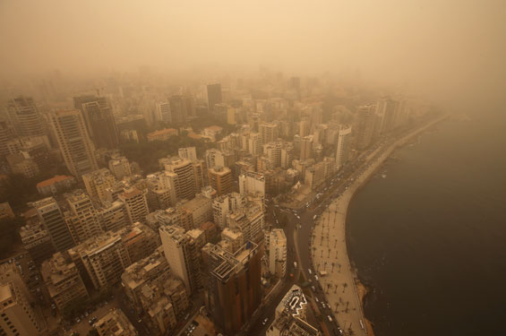 A sandstorm shrouds the capital city of Beirut, Lebanon. (AP)