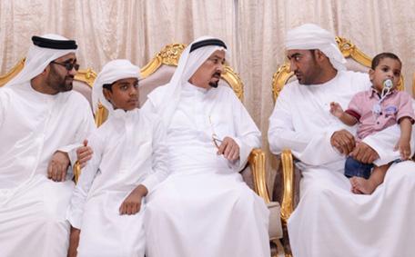 Sheikh Humaid bin Rashid Al Nuaimi, Supreme Council Member and Ruler of Ajman offered condolences to the family of the martyr Fahad Al Bloushi. (EAY)