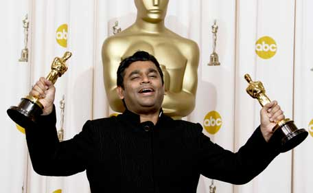 In this Feb. 22, 2009 file photo, AR Rahman holds the Oscars for best original score and for best original song 'Jai Ho' for his work on 'Slumdog Millionaire' during the 81st Academy Awards in the Hollywood section of Los Angeles. (AP)