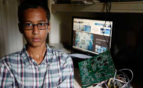 Irving MacArthur High School student Ahmed Mohamed, 14, poses for a photo at his home in Irving, Texas on Tuesday, Sept.  15, 2015. Mohamed was arrested and interrogated by Irving Police officers on Monday after bringing a homemade clock to school. (AP)