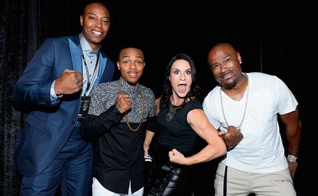 NBA player James Caron Butler (from left) of the Sacramento Kings, rapper Shad 'Bow Wow' Moss, former Arizona Cardinals training camp/pre-season intern linebackers coach Jen Welter and television personality Darian 'Big Tigger' Morgan arrive at the VIP Pre-Fight Party for 'High Stakes: Mayweather v. Berto' presented by Showtime at MGM Grand Garden Arena on September 12, 2015 in Las Vegas, Nevada. (Getty)