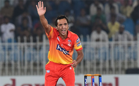 In this photograph taken on September 14, 2015, Pakistani paceman Imran Khan Junior from the Peshawar cricket team appeals unsuccessfully for the dismissal of a Sialkot cricket team player at the National Twenty20 semi-final at the Rawalpindi Cricket Stadium in Rawalpindi. (AFP)