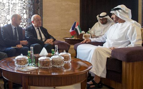 Sheikh Mohamed bin Zayed Al Nahyan meets with Jean-Yves Le Drian Minister of Defence of France (Wam)